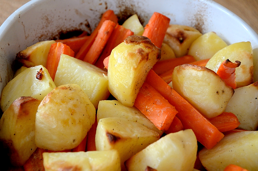 Potato and carrots roasted in duck fat