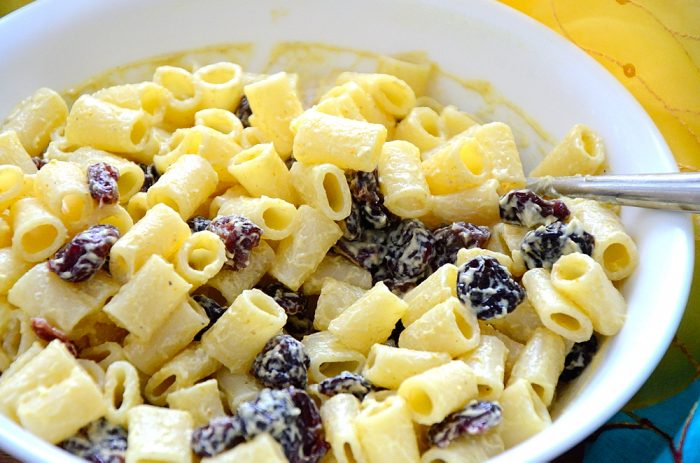 Pasta salad in creamy curry dressing