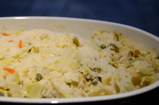 Mediterranean Rice with Capers, Olives and Artichokes