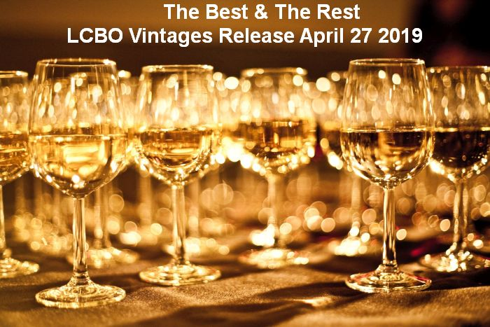 Wine glasses with heading The Best & The Rest of LCBO Vintages Release April 27, 2019
