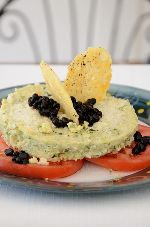 Appetizer with parmesan crisps as garnish