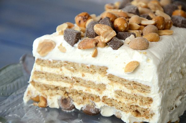 Vanilla Ice Box cake with Oh Henry bar topping