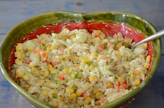 Orzo Corn Salad with Cucumber Feta Dressing