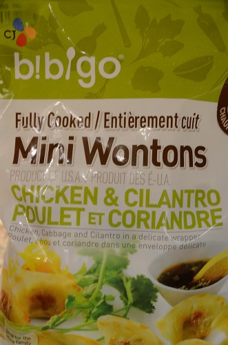 Bag of chicken and cilantro wontons from Costco