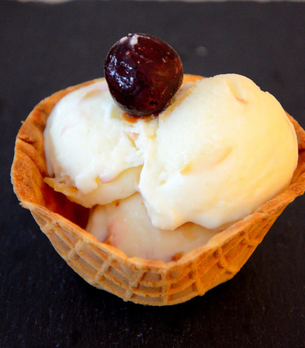 Vanilla almond ice cream in a waffle bowl