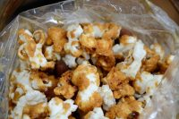 Close up shot of caramel corn in a clear bag