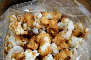 Close up shot of caramel corn in a clear bag