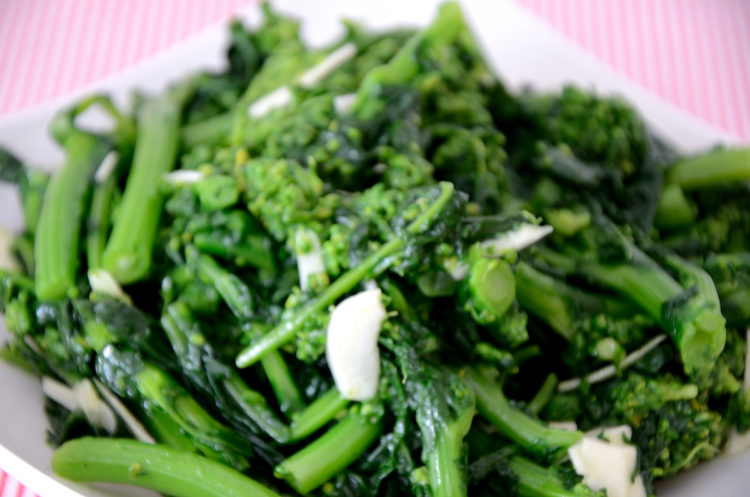 Closeup of cooked Rapini