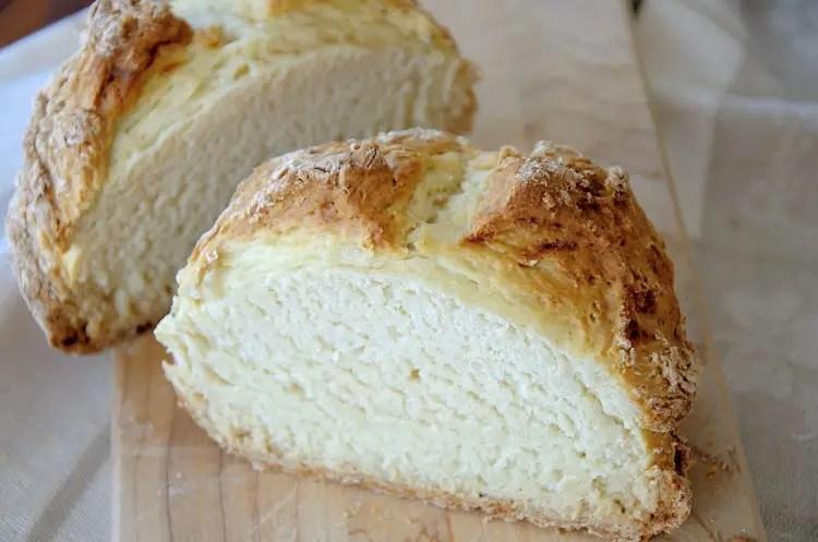 loaf of Irish Soda Bread cut in half