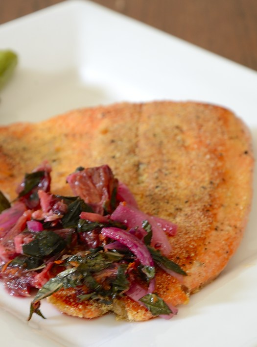 Pan FriedTrout with Red Onion and Blood  Orange Relish