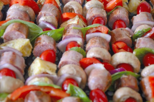 Panzanella skewers with sausage, mushrooms, peppers, ciabatta ready for the grill