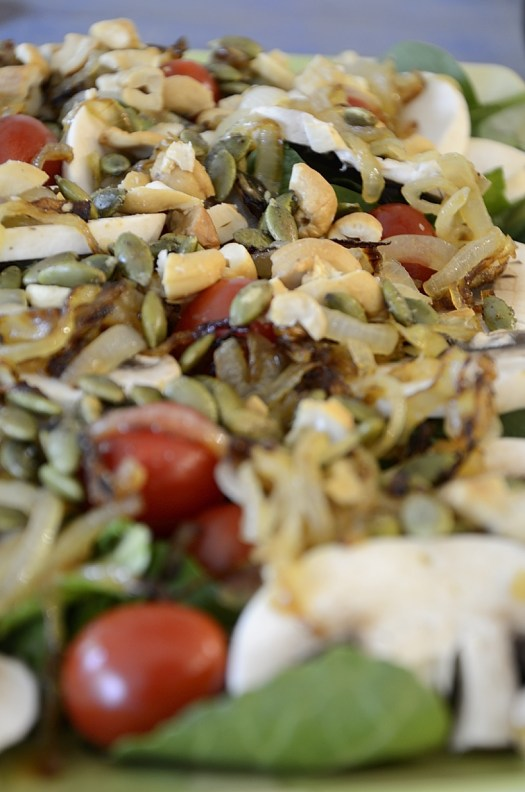 Crunchy Top Spinach Mushroom Salad