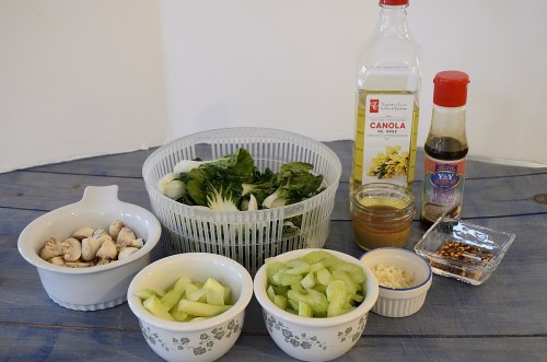 Bok Choy, cucumber, celery, mushrooms, sesame oil, corn starch for Stir Fried Baby Bok Choy with Garlic.