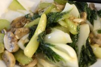 Close up of stir fried chinese bok choy.
