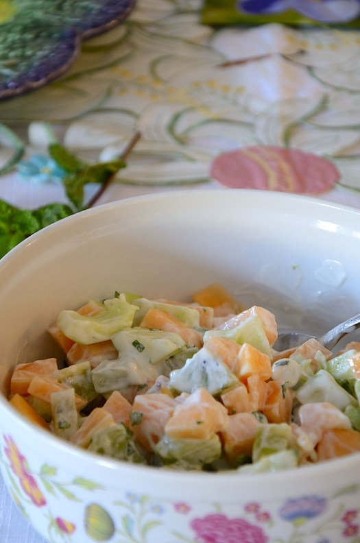 Healthy Cucumber Salad with Kiwi and Canteloupe