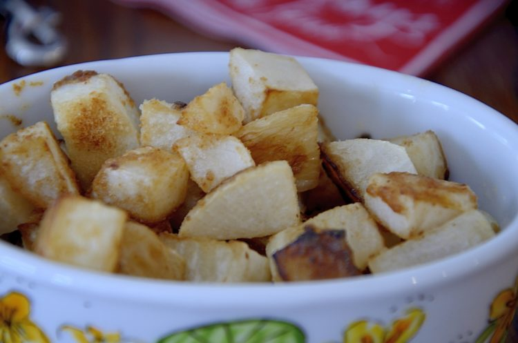 Crispy fried turnips in cubes.