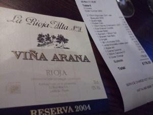 wine label w/the bill?