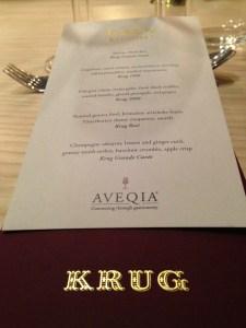 the Aveqia/Krug menu