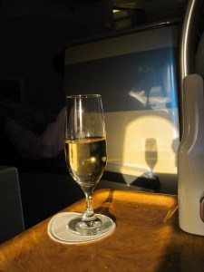 Champagne at 35,000 ft, always welcome