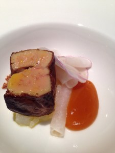 Pan fried foie gras, burnt grapefruit, turnip salad, crispy shallots