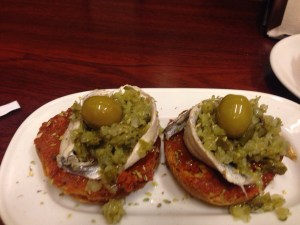 anchovies, green olive tapenade