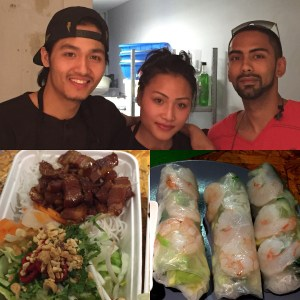 Nam, his sister and contributor, the sticky pork belly and summer rolls