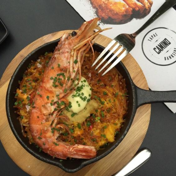 fideuas with giant prawn Camino Bankside London