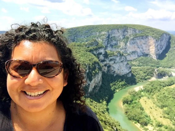 above ground with the Gorge d'Ardeche behind me