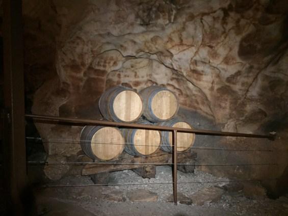 barrels in the cave, Rhone Valley, France, Grotte de St Marcel d'Ardeche