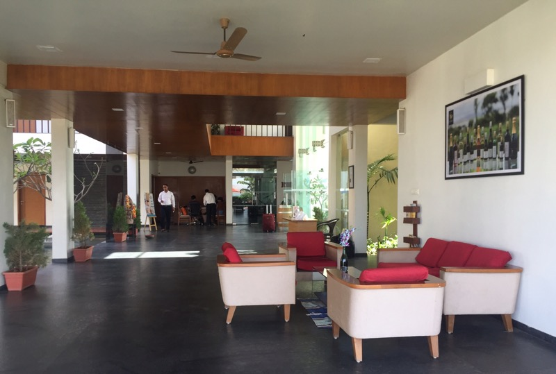 lobby of the resort at  Soma Vineyards and Resort, Nashik Valley, Maharashtra, India