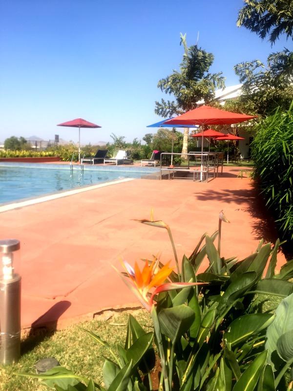 poolside at  Soma Vineyards and Resort, Nashik Valley, Maharashtra, India