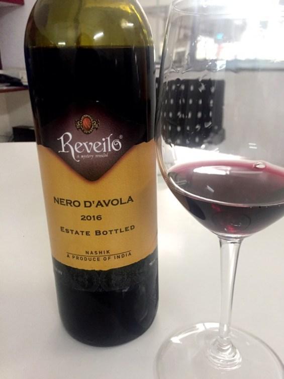 a glass of Nero d'avola, Reveilo Winery, Nashik Valley, Maharashtra, India, Indian Wine