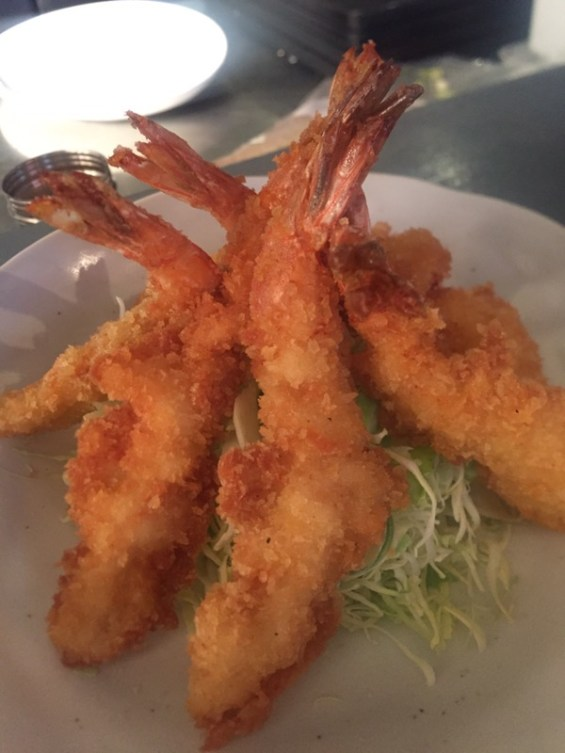 Prawn tempura, appetizer at Pop Up Japan at Proud East, Dalston, East London