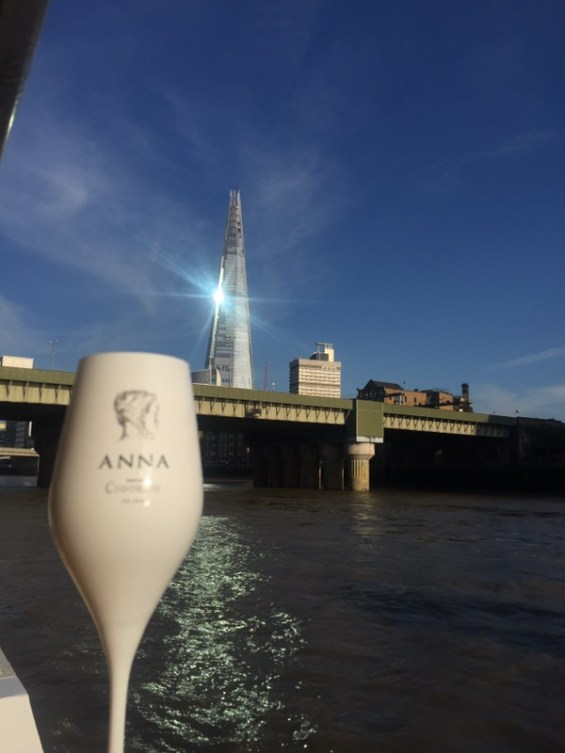 The Shard and Anna de Codorniu Cava on the River Thames, London