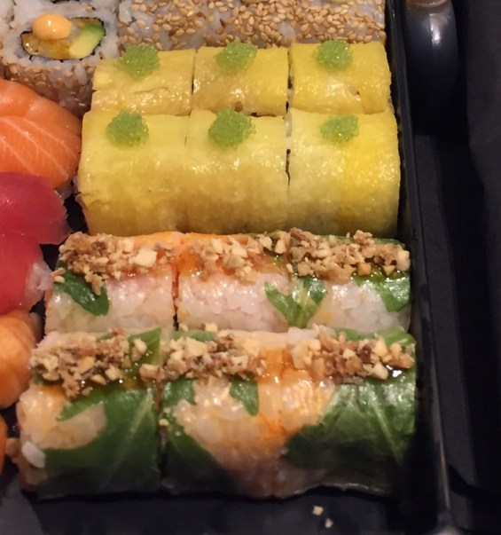 Pineapple Samba Roll Spicy Salmon & Papaya Spring Roll Sushi Shop Summer Box Marylebone London
