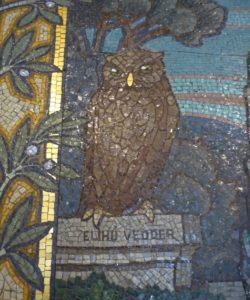 Mosaic owl on a pedestal in the Library of Congress.