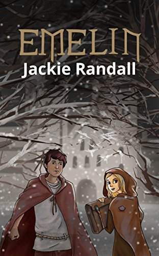 Book cover in graphic novel style. Boy and girl in brown medieval robes with dark branches and white medieval city in the background