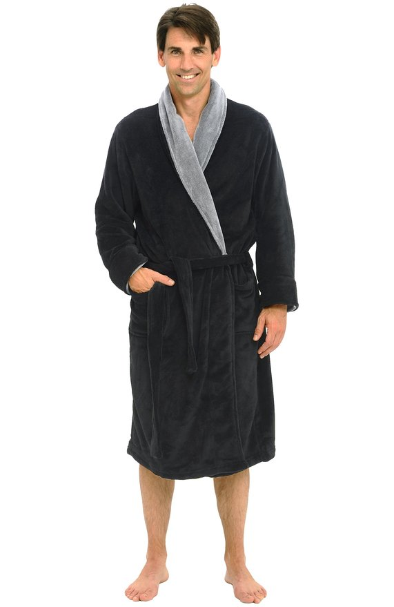 Del Rossa Men's 15 oz Fleece Bathrobe Robe