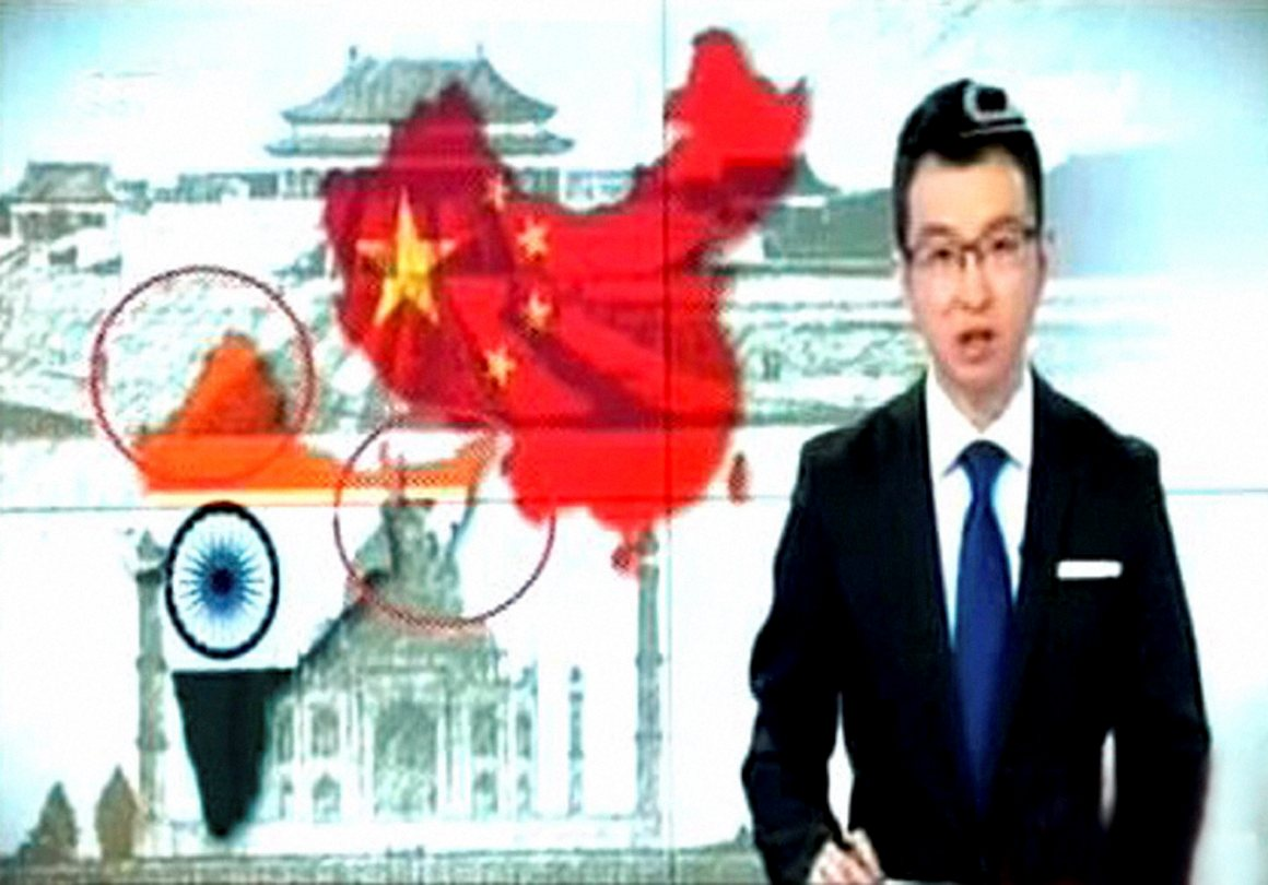 China's official TV channel CCTV showing an Indian map without Jammu and Kashmir and Arunachal Pradesh while reporting on Prime Minister Narendra Modi's visit. Credit: PTI Photo