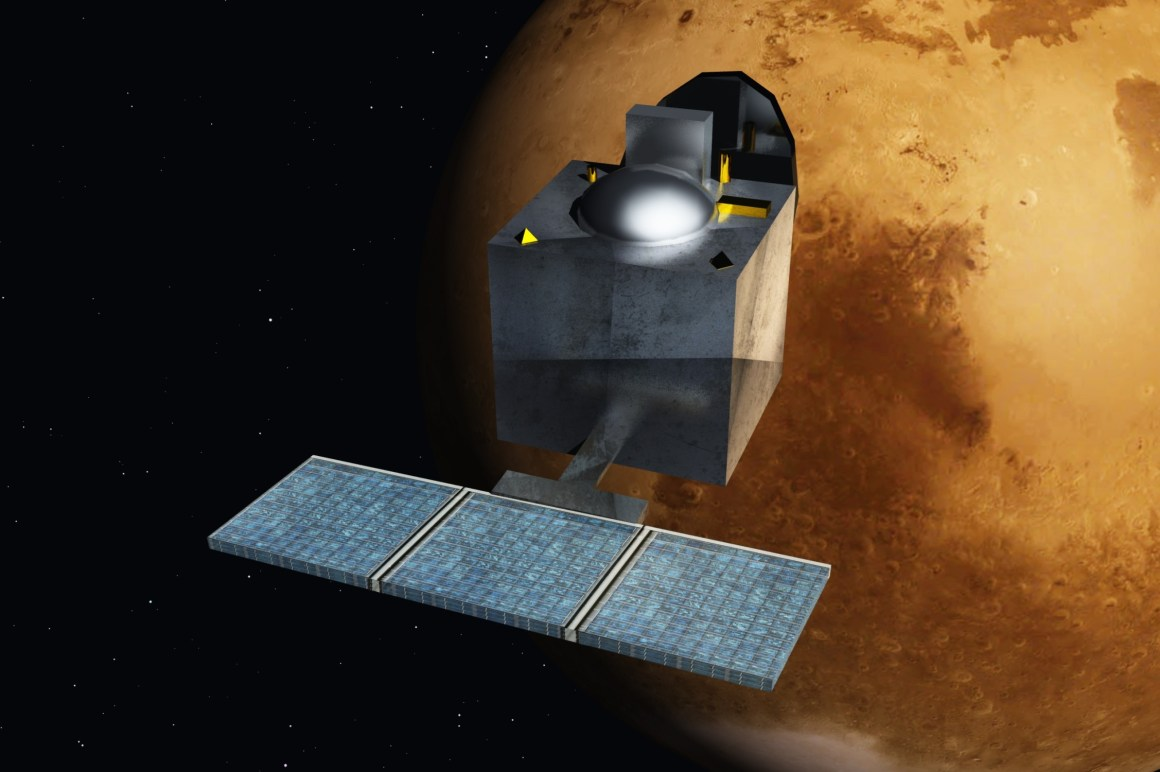 An artist's illustration of the Mars Orbiter orbiting the red planet. Credit: Nesnad/Wikimedia Commons