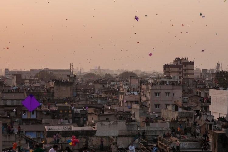 Sky filled with kites in Ahmedabad. Photo: Sandeep A. Chetan, CC 2.0