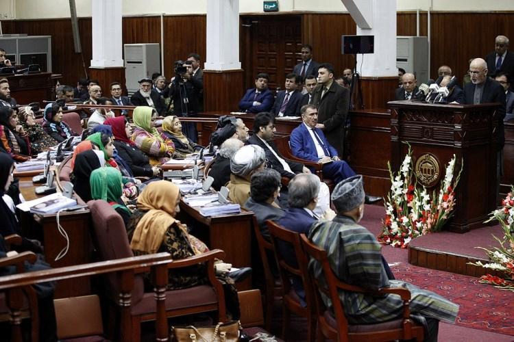 File photo of President Ashraf Ghani addressing the Afghan parliament. Credit: UNAMA