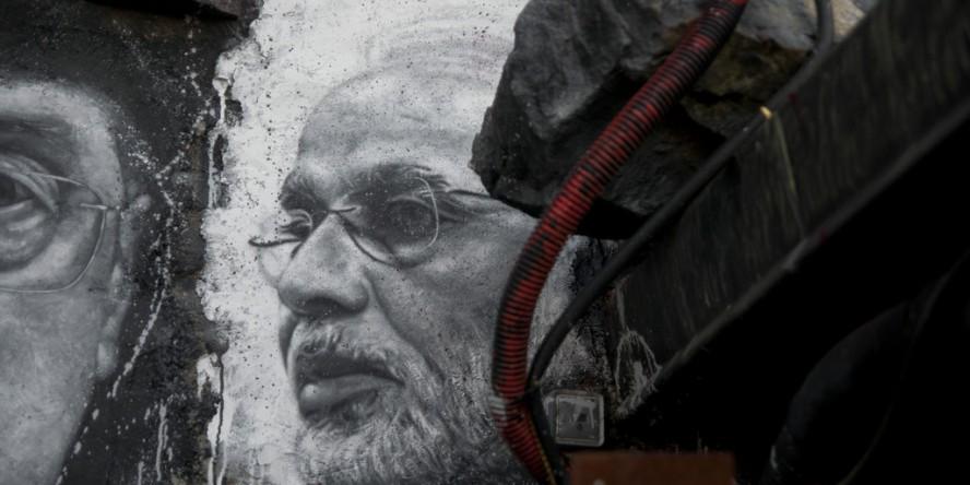 Narendra Damodardas Modi, painted portrait by Thierry Ehrmann (CC 2.0)
