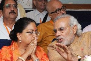 Narendra Modi and Vasundhara Raje. Credit: PTI Photo