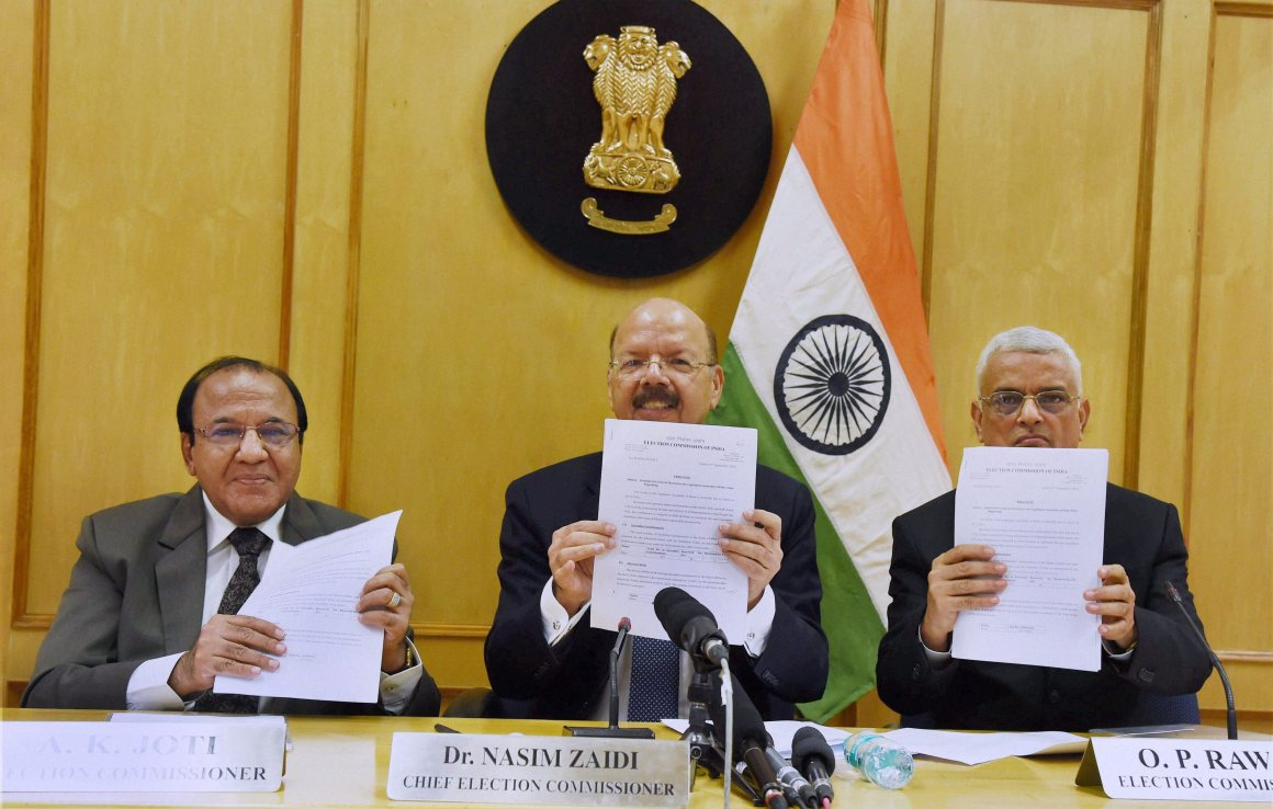 Chief Election Commissioner Nasim Zaidi with Election Commissioners A.K. Joti and O.P. Rawat at a press conference to announce the schedule for the Bihar Assembly elections, in New Delhi. Credit: PTI Photo