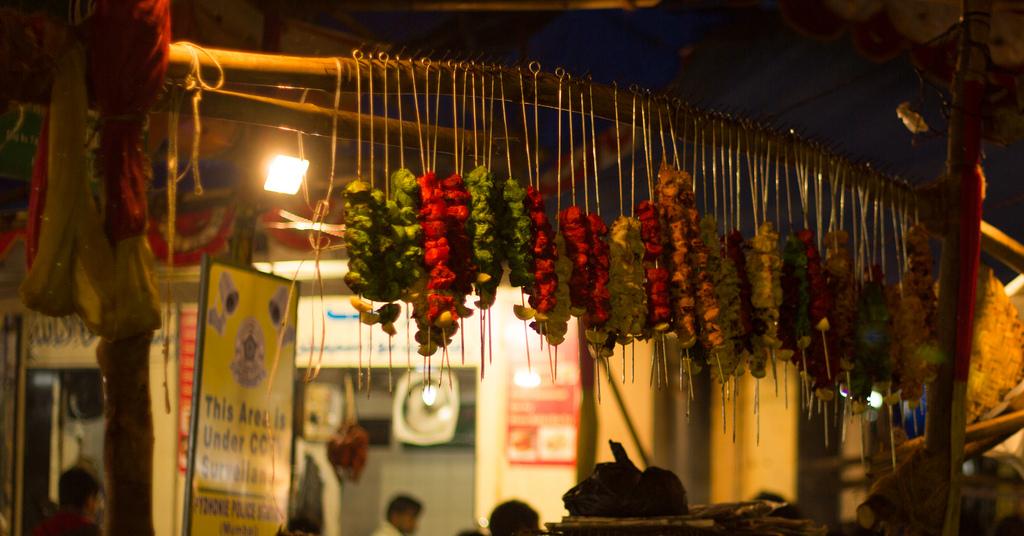 Row of kebabs at Muhammed Ali Road, Mumbai (Photo: Sameer Walzade)