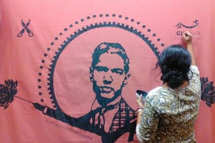 Kartar Singh Sarabha mural designed by Nisha Sembi, Berkeley. Credit: Kearney Street Workshop