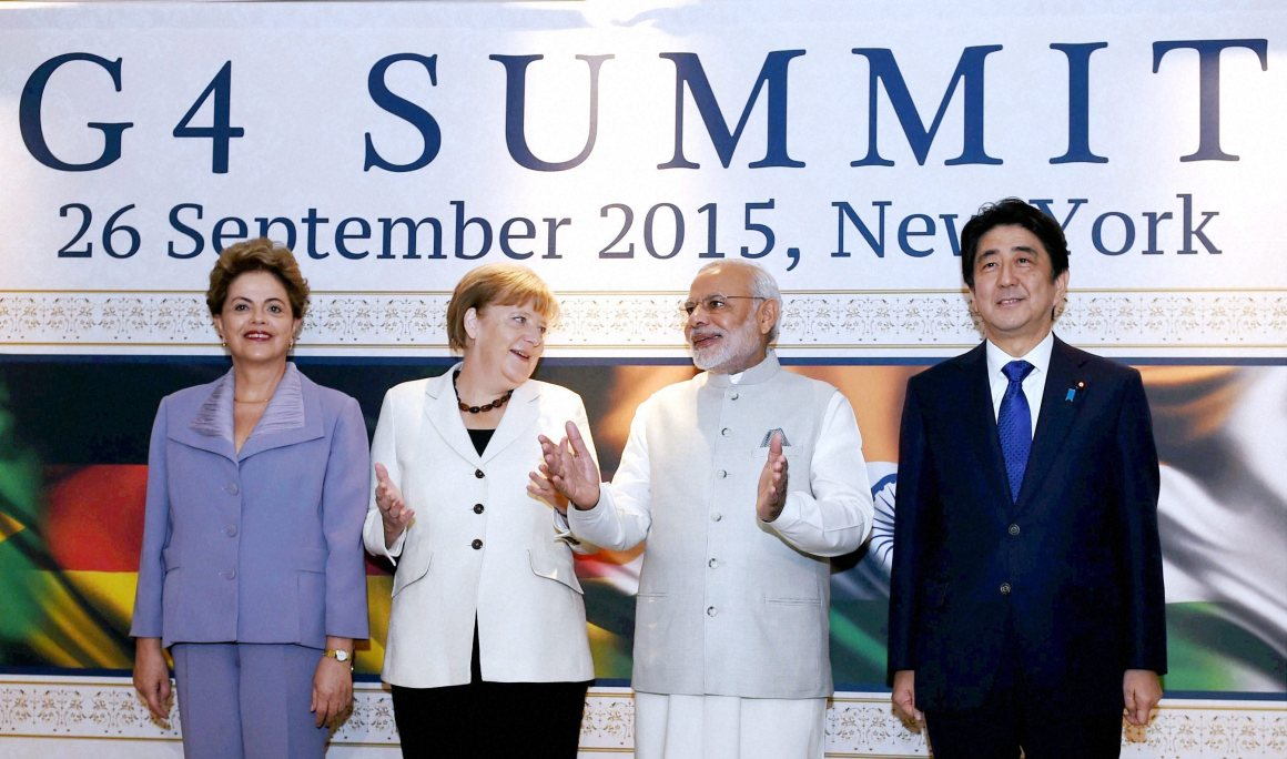 Prime Minister Narendra Modi, German Chancellor Angela Merkel, Brazilian President Dilma Rousseff and Japanese Prime Minister Shinzo Abe at the G4 Summit in New York on Saturday. Credit: PTI Photo by Subhav Shukla