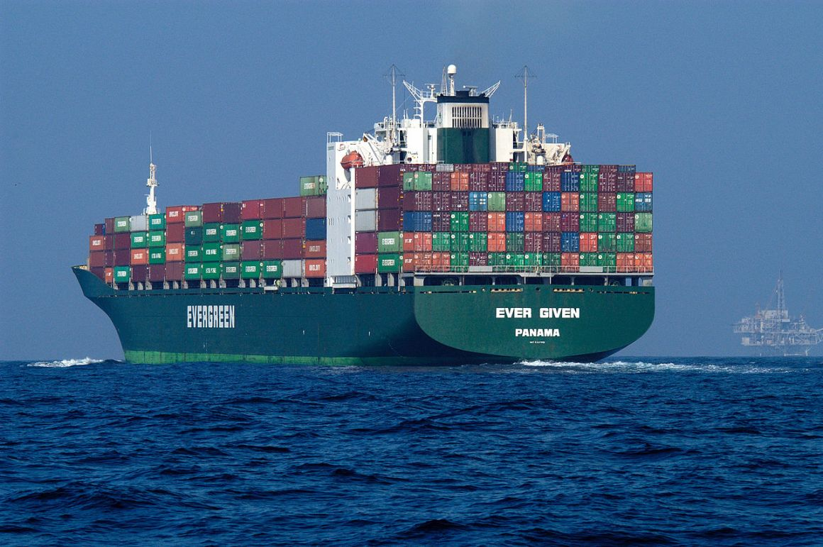 A container ship on the high seas