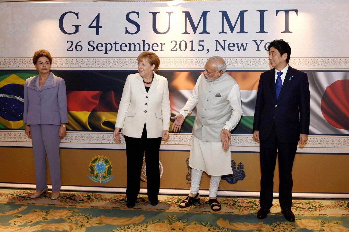 Prime Minister Narendra Modi, German Chancellor Angela Merkel, Brazilian President Dilma Rousseff and Japanese Prime Minister Shinzo Abe at G4 Summit in New York last month. Credit: PTI Photo by Subhav Shukla